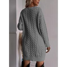 Sólido Punto De Cable Cuello en V Casual Vestido de Suéter