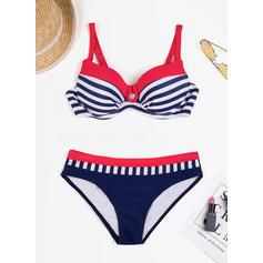 Rayures À Bretelles À La Mode Grande taille Bikinis Maillots De Bain