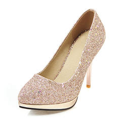 Women's Leatherette Stiletto Heel Pumps Platform Closed Toe With Sequin shoes
