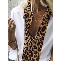 Leopard Lapel Long Sleeves Casual Shirt Blouses
