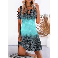 Print/Gradient Short Sleeves Shift Knee Length Casual/Boho/Vacation Tunic Dresses