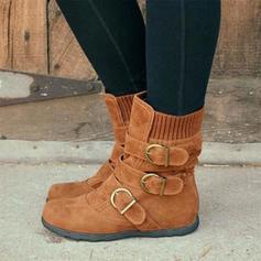 Bayanlar PU Düz topuk Flats bot ayakkabı Orta Buzağı Çizmeleri Ile Toka ayakkabı