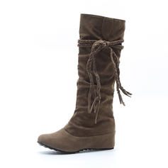 Women's Suede Wedge Heel Platform Wedges Boots Knee High Boots With Lace-up shoes