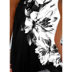 Floral Print Round Neck Sleeveless Tank Tops