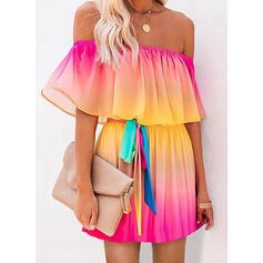 Tie Dye Short Sleeves A-line Above Knee Casual/Vacation Dresses