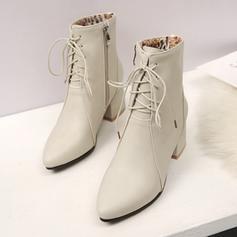 Femmes Similicuir Talon plat Bottes Bout fermé Chaussures plates avec Dentelle