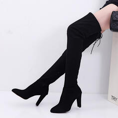 Női Szarvasbőr Chunky sarok Csizma A térdcsizma felett -Val Lace-up cipő
