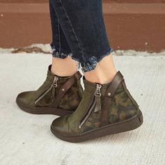 Pentru Femei PU Fară Toc Cizme Botine cu Fermoar pantofi