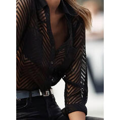 Solid Lapel Long Sleeves Button Up Casual Sheer Blouses