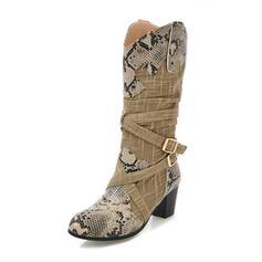 De mujer Tejido Tacón ancho Botas Botas longitud media con Hebilla zapatos