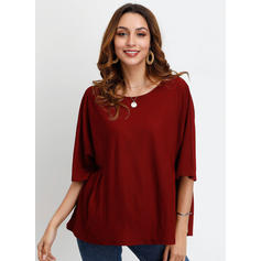 Solide Ronde Hals 1/2 Mouwen Casual Blouses