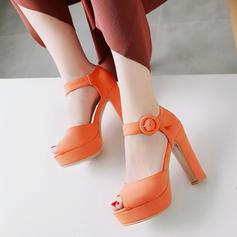 Femmes Similicuir Talon bottier Sandales Escarpins Plateforme avec Boucle chaussures
