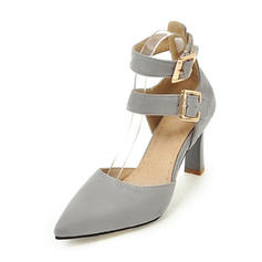 Women's Leatherette Stiletto Heel Sandals Pumps Closed Toe Mary Jane With Buckle shoes
