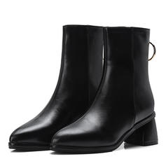 Women's Leatherette Cone Heel Boots Mid-Calf Boots With Zipper shoes