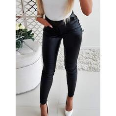Solid lommer rynkede Lang Elegant Sexy Lær Bukser
