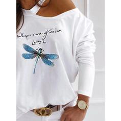 Dierenprint Figuur One Shoulder Lange Mouwen Casual Overhemd