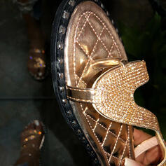 Dla kobiet PVC Płaski Obcas Sandały Otwarty Nosek Buta Kapcie Z Stras/ Krysztal Górski Nit obuwie