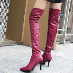 Women's Leatherette Stiletto Heel Pumps Boots Over The Knee Boots shoes