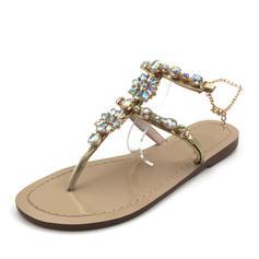 Women's Leatherette Flat Heel Sandals With Rhinestone