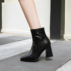 Women's Leatherette Chunky Heel Pumps Boots Mid-Calf Boots With Zipper shoes