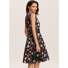 Print/Floral Sleeveless A-line Knee Length Casual Skater Dresses