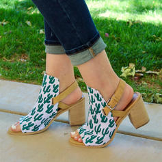 Women's Canvas Chunky Heel Sandals Pumps With Others shoes