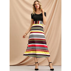Print/Striped Short Sleeves A-line Midi Casual/Elegant Dresses