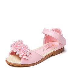 Fille de À bout ouvert Cuir en microfibre talon plat Sandales Chaussures plates