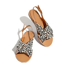 Women's Suede Flat Heel Sandals Flats Peep Toe With Buckle shoes