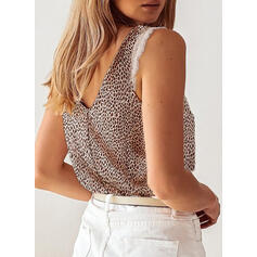 Leopard V-Neck Sleeveless Casual Blouses