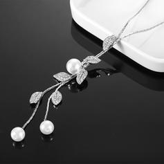 Beau Alliage Strass De faux pearl avec Perle d'imitation Dames Collier de mode (Vendu dans une seule pièce)