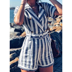 Striped Shirt collar 1/2 Sleeves Casual Romper