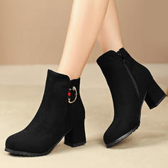 Women's Suede Chunky Heel Pumps Boots Mid-Calf Boots With Buckle Zipper shoes
