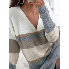 Color Block Striped V-Neck Sweater Dress