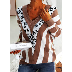 Print Color Block V-Neck Casual Sweaters