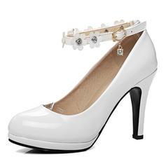 Donna Pelle verniciata Tacco a spillo Stiletto Piattaforma Punta chiusa Stivali sopra il ginocchio con Strass Fiore scarpe