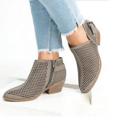 Women's PU Low Heel Flats Boots Ankle Boots With Zipper Hollow-out shoes