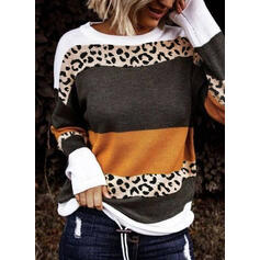 Color Block Striped Leopard Round Neck Casual Sweaters