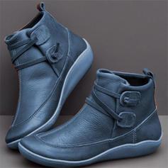 Donna PU Senza tacco Ballerine Punta chiusa Stivali Stivali alla caviglia con Fibbia scarpe