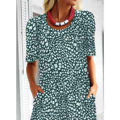 Print Short Sleeves Shift Casual/Elegant Midi Dresses