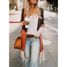 Color Block Collarless Cardigan