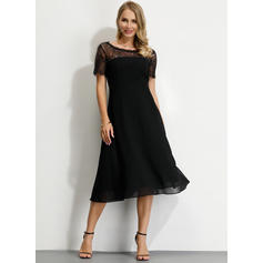 Lace/Solid Short Sleeves A-line Midi Little Black/Party/Elegant Dresses