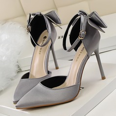De mujer Satén Tacón stilettos Sandalias Salón Cerrados con Bowknot Correa Trenzada zapatos