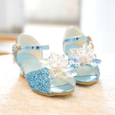 Girl's Peep Toe imitatieleer low Heel Sandalen Bloemenmeisje schoenen met strik Gesp
