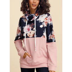 Print Floral High Neck Long Sleeves Casual Blouses