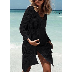 Solid Color Long Sleeve V-neck Elegant Cover-ups Swimsuits