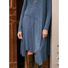 Jednolita Długie rękawy Koktajlowa Tunika Casual Midi Sukienki