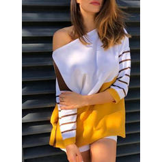 Color Block Striped One-Shoulder Long Sleeves Casual Knit Blouses