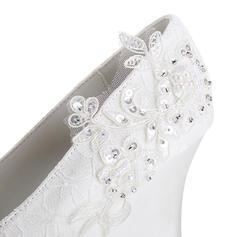 Naisten Pitsi silkki kuten satiini Wedge heel Suljettu toe Kiilat jossa Stitching Lace Pearl