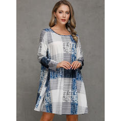 Plaid Lange Mouwen Shift Knielengte Casual Tunieken Jurken